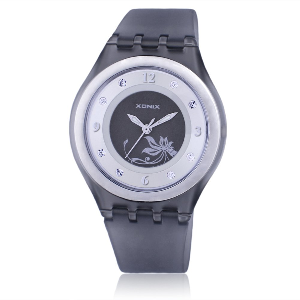 Children's rhinestone analog quartz watch,Jelly simple 50 m waterproof resin strap ultra thin girls or boys fashion wristwatch-C
