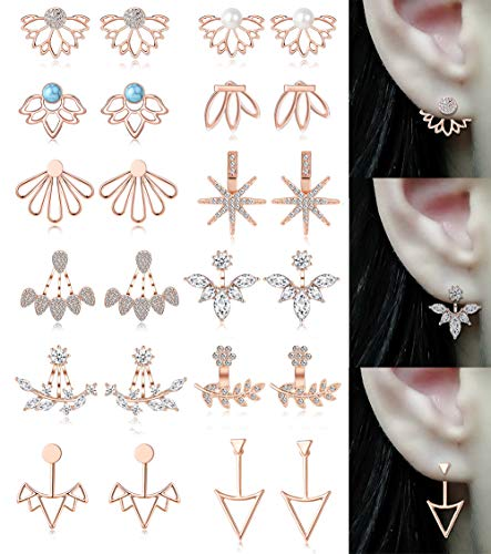 Tornito 12 Pairs Lotus Flower Earring Studs Chic CZ Earrings Jackets For Women Girls Rose Gold -
