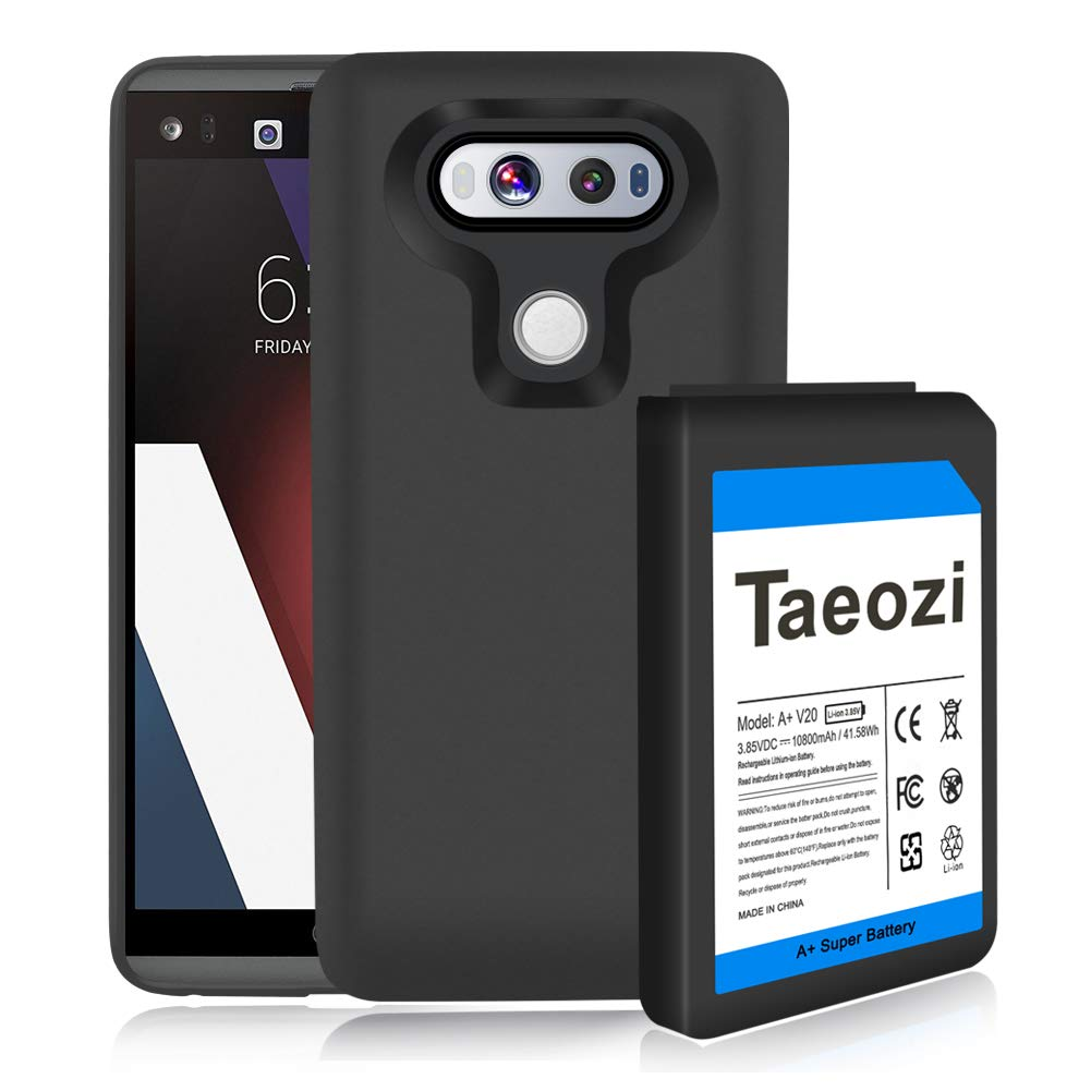 Taeozi V20 Extended Battery, 10800mAh Extended Replacement Battery with Soft TPU Full Edge Protection Case for LG V20 BL-44E1F US996 H910 H918 VS995 LS997 (Up to 3X Extra Battery Life)