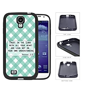 Proverbs 3:5 Bible Verse with Teal & White Stripes Diamonds Pattern [Samsung Galaxy S4 I9500] Rubber Silicone TPU Cell Phone Case