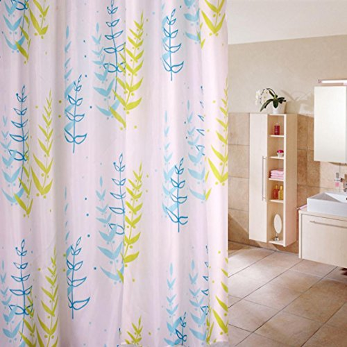 Blue Mop Leaf Design Ring (YJYdada 12 Hooks Tree Design Waterproof Bathroom Fabric Shower Curtain Leaf)