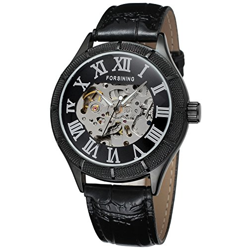 Forsining Men's Fashion Automatic Self-wind Mechanical Skeleton Analogue Sport Wrist Watch (17 Jewel Manual Wind)