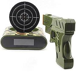 iKKEGOL Infrared Gun and Target Game Recordable Alarm Clock - LED Digital Display (Arm Green)