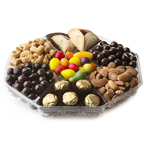 Happy Purim Baskets Shalach Manot, 7 Sectional Mishloach Manot Gift Tray - Oh! Nuts