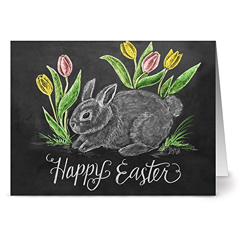 24 Chalkboard Note Cards - Easter Bunny - Blank Cards - Kraft Envelopes Included