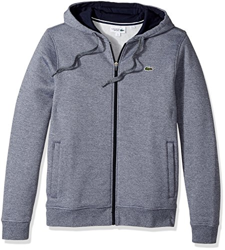Lacoste Men's Full Zip Hoodie Fleece Sweatshirt, Moline Navy Blue, Small by Lacoste (Image #1)