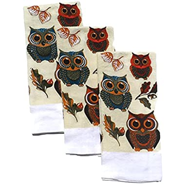 Holiday Decoratve Printed Fall Kitchen Dishtowels Set of 3 Fall Owls Design