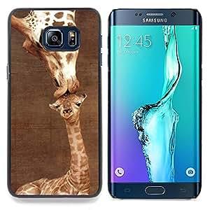 /Skull Market/ - Giraffe Cute Mother Mom Day Brown For Samsung Galaxy S6 Edge Plus - Mano cubierta de la caja pintada de encargo de lujo -
