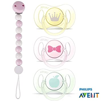 Avent chupete Mini 0-2 meses, Juego De 3 Girls Soft Colours ...