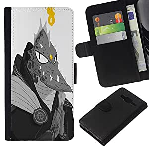 JackGot ( Monstruo extranjero Lagarto Hombre Dragón Ufo Fuego ) Samsung Galaxy Core Prime la tarjeta de Crédito Slots PU Funda de cuero Monedero caso cubierta de piel