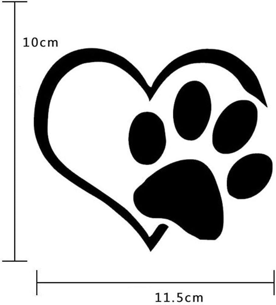 PAW PRINT HEART Vinyl Decal I Love my dog Car Window Sticker