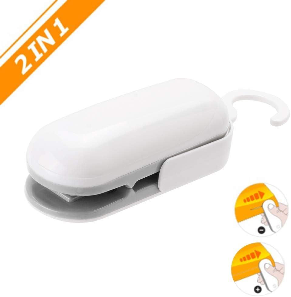Mini Bag Sealer, 2 in 1 Heat Sealer, Handheld Heat Vacuum Sealers Cutter Portable Bag Resealer Sealer for Food Storage Snack Fresh Bag Sealer(Battery Not Included)