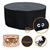 Fellie Cover Patio Round Table and Chair Set Cover Black - Durable and Water Resistant Patio Furniture Cover, 72''Dia x 37''H, All Weather Protection