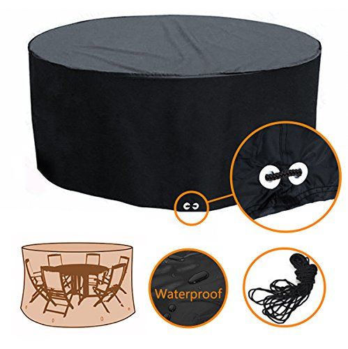 Fellie Cover Patio Round Table and Chair Set Cover Black - Durable and Water Resistant Patio Furniture Cover, 72''Dia x 37''H, All Weather Protection by F Fellie Cover