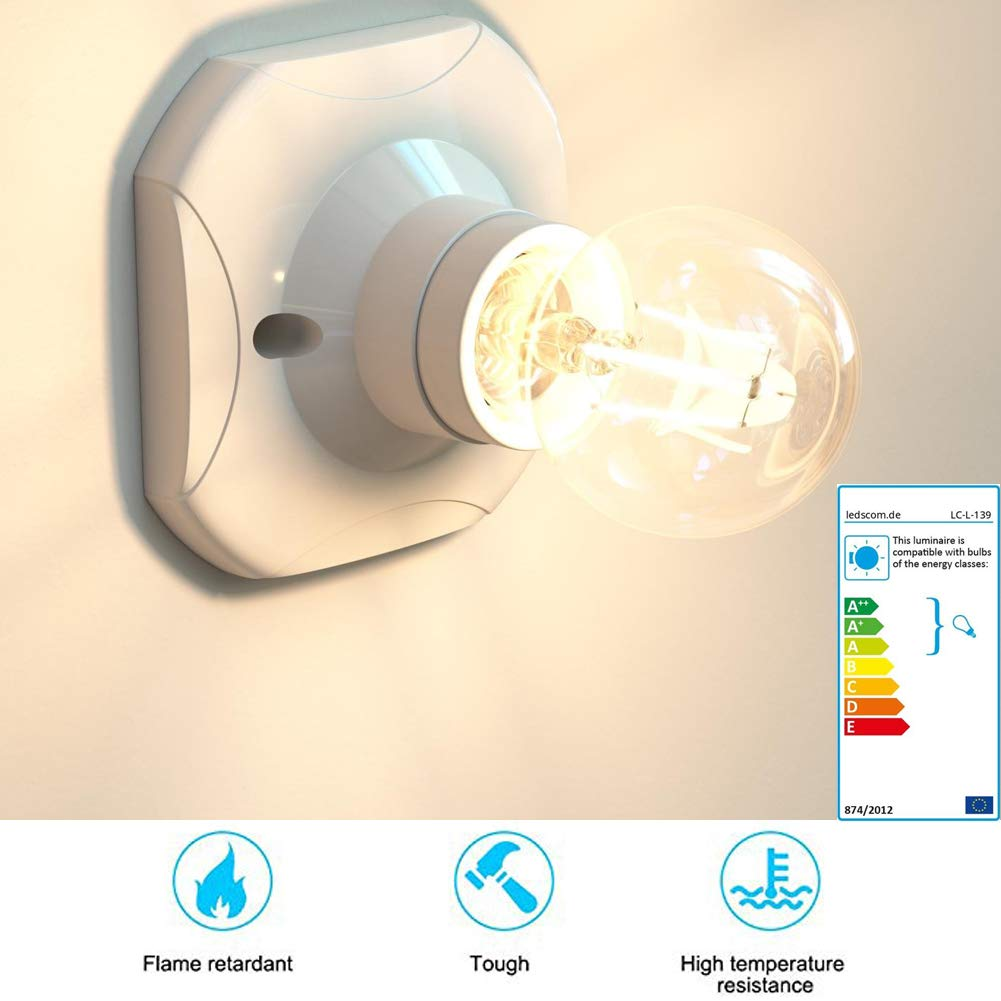 F/ür Lampe Halter 4 Pack Kunststoff und Porzellan BETOY Lampenfassung Wei/ß Wand-Fassung Elektra Decken-Fassung,eckig E27