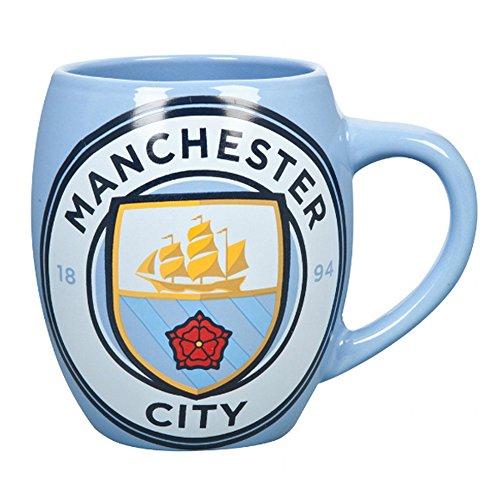Manchester City FC Official Ceramic Football Crest Tea Mug (One Size) (Sky Blue)