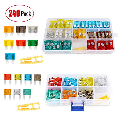Nilight 240pcs Standard and Mini Blade Fuses Set,5A 7.5A 10A 15A 20A 25A 30A ATC APR ATO ATS Standard and ATM APM Mini Automotive Blade Fuse Assortment Kit for Cars,Trucks,Automotives,2 Years Warranty