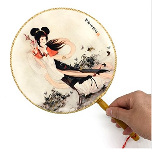 Colorful 100Pcs/Lot Retro Vintage With Delicate Packaging Ancient Lady Printing Palace Round Hand Fan Decorations by Hand Fan