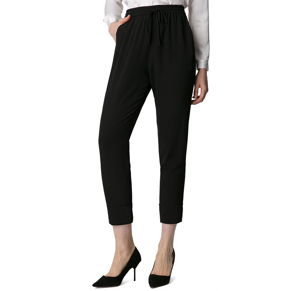LilySilk Silk Tapered Pants For Women and Ladies Elastic Waist Pure Natural 18MM Silk Bottoms With Strings Black XL/14-16