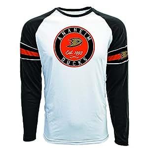 NHL Anaheim Ducks Men's Face-off Circle Long Sleeve Tee, Small, White/Black