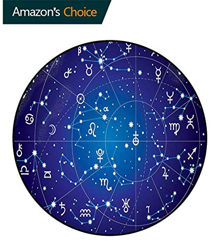 - Astrology Carpet Gray Round Area Rug,Constellation of Zodiac and Planets Original Collection Coordinates of Celestial Pattern Floor Seat Pad Home Decorative Indoor Round-47 Inch,Dark Blue