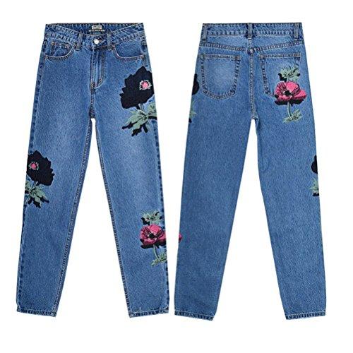 Coupe Femme Bleu Brod Jeans Large Fleuri Grande Pantalon Droite Jeans Boyfriend Haute Taille Taille FuweiEncore wq5H6IxI