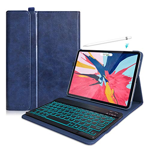 iPad Pro 11 Case with Keyboard 2018 - PU Leather Cover - Backlight Detachable Wireless Keyboard, Keyboard Case for New iPad Pro 11 Inch-Support 2nd Gen Pencil Charging (Backlit Keyboard- Blue)