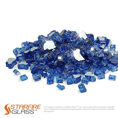 Starfire Glass 10-Pound Fire Glass  1/2-Inch Cobalt Blue Reflective