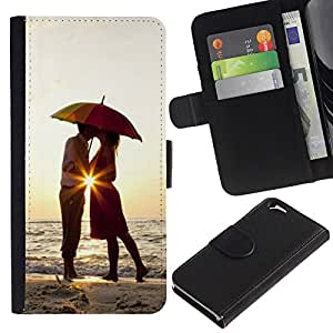 For Apple Apple iPhone 6(4.7 inches),S-type® Sunset Umbrella Lovers Love Heart Kiss - Dibujo PU billetera de cuero Funda Case Caso de la piel de la bolsa protectora