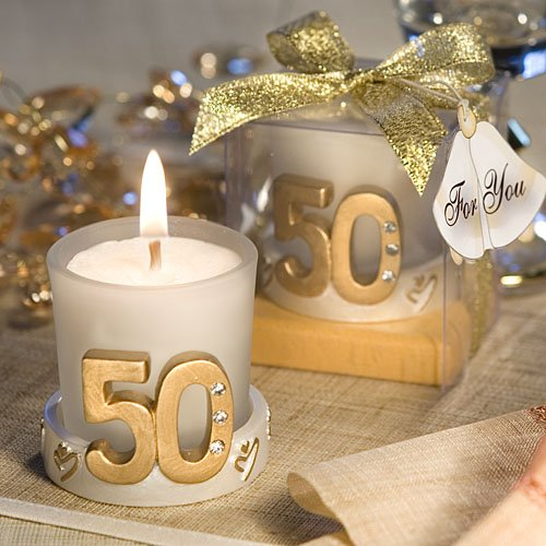 Golden 50th Anniversary Birthday Candle Favors (50) ()