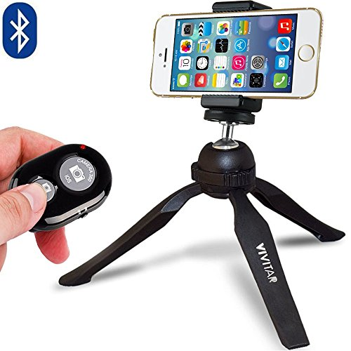 iPhone Tripod Stand, Mini Travel Phone Tripod with Bluetooth Remote Control for iOS and Android