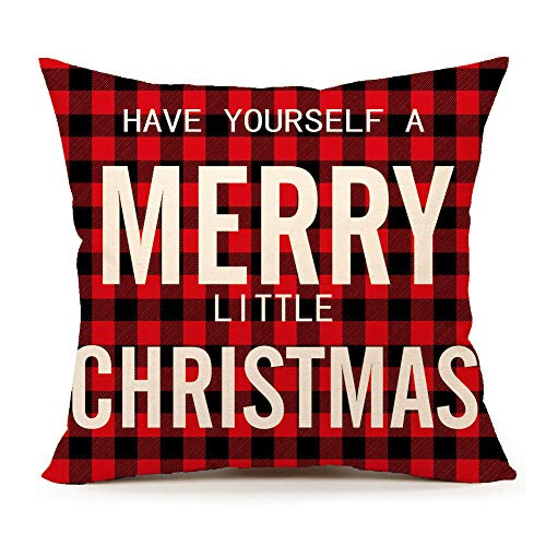 4TH Emotion Have Yourself a Merry Little Christmas Throw Pillow Cover Red Buffalo Plaids Cushion Case for Sofa Couch 18 x 18 Inch Cotton Linen