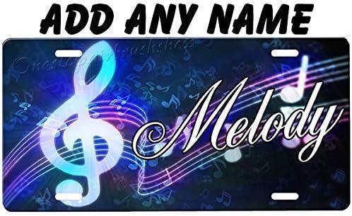 onestopairbrushshop Music Notes License Plate