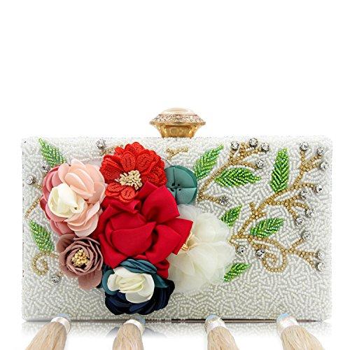 Flada mujeres y damas Perla bordado bolso borla de la noche de la boda bolsa de embrague rhinestones bolsos monedero púrpura Plata