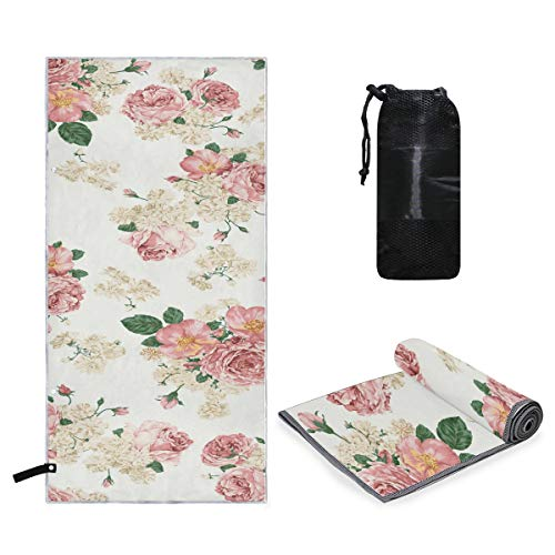 (Rachel Dora Microfiber Quick Dry Large Towel Watercolor Floral Pattern Beach, Travel, Swim, Pool, Camping, Outdoors and Sports Towel - Lightweight, Compact and Sand Free 63 x 31.5 inch)