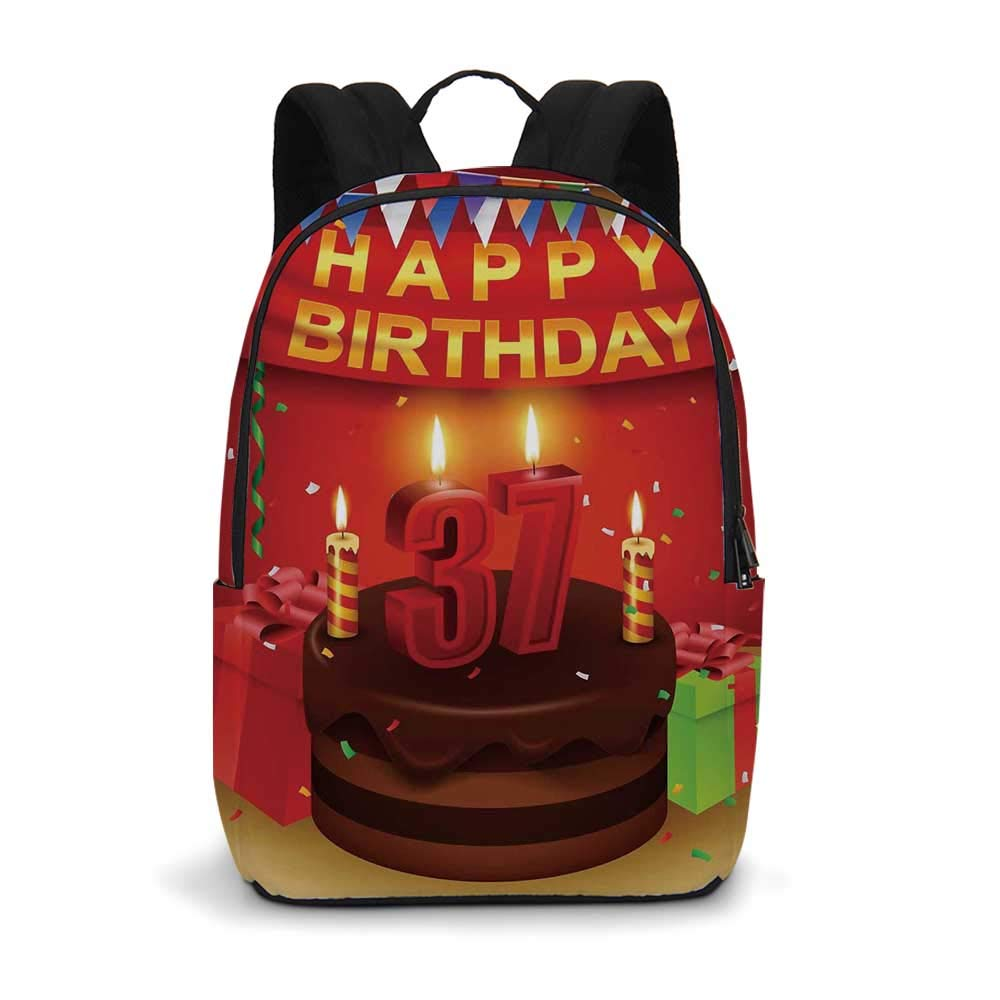 37th Birthday Decorations Modern simple Backpack,Chocolate Cake Gifts Balloons Flag Cute Icons Candles Artsy Image for school,11.8''L x 5.5''W x 18.1''H