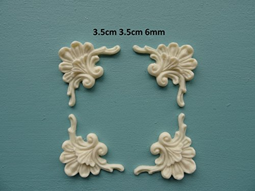 Decorative plume and scroll corners x 4 applique onlay furniture moulding PSCX4 ()