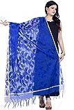Chandrakala Women's Handwoven Resham work Banarasi Dupatta Stole Scarf (Blue)
