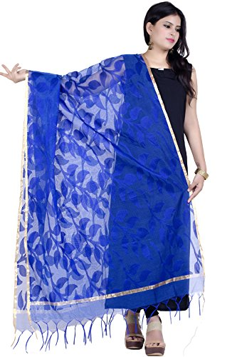 Chandrakala Women's Handwoven Blue Resham work Banarasi Dupatta Stole Scarf,Free Size (D124BLU)