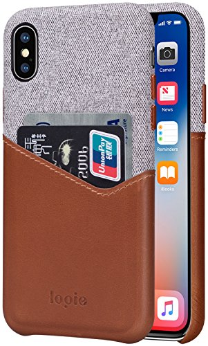 iPhone X Case, Lopie [Sea Island Cotton Series] Fabric Slim Fit Hard Back Case Wallet Cover with Genuine Leather Credit Card Holder Slot Design for iPhone X / iPhone 10 - Fashion Island Stores