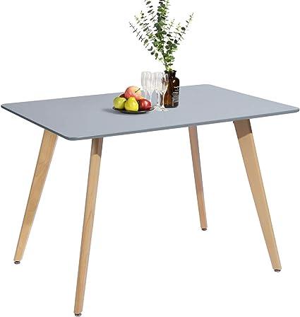 Meuble Cosy Tavolo Da Pranzo Rettangolare Scandinavo Design In Legno Per 4 6 Persone 110 X 70 X 74 Cm Colore Grigio In Legno Amazon It Casa E Cucina