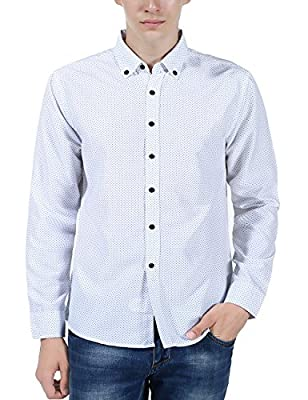 XI PENG Men's Casual Long Sleeve Cotton Patterned Button Down Slim Fit Dress Shirts