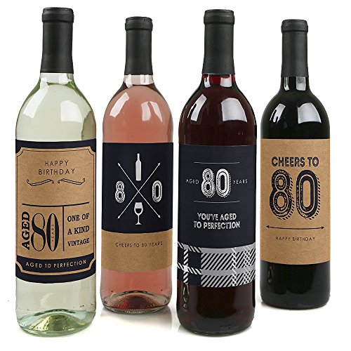 80th Milestone Birthday - Dashingly Aged to Perfection - Birthday Gift For Men - Wine Bottle Label Stickers - Set of 4