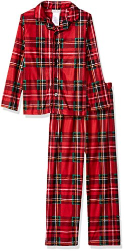 Peas & Carrots Big Boys' Holiday Coat Style Pajama Set, Red Plaid, Large