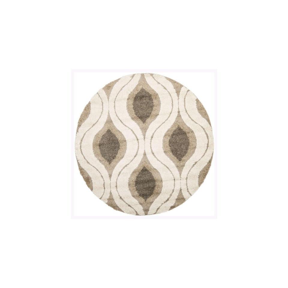 Safavieh Florida Shag Collection SG461 1179 Cream and Smoke Round Area Rug (67 Diameter)