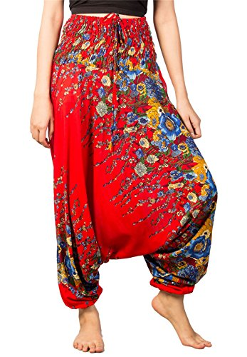 (Lofbaz Women's Floral Printed Smock Waist 2 in 1 Jumpsuit Pants Red S)