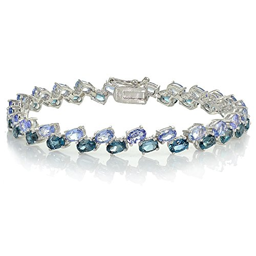 Sterling Silver Tanzanite and London Blue Topaz 2-Row Bracelet by Ice Gems
