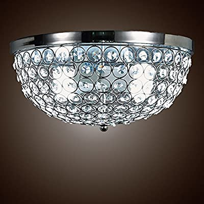 SwanHouse Flush Mount Ceiling Lighting Fixture, Silver Color, KMQ-D-2L W13 x H7
