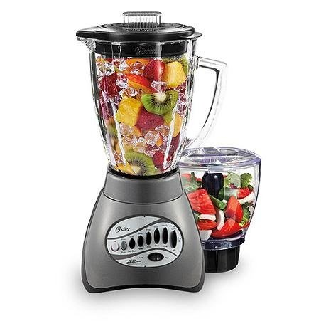 Oster 12-Speed Metallic Gray Blender with 3-Cup Food Processor