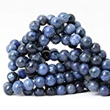 CHEAVIAN 35PCS 10mm Natural Dumortierite Gemstone Round Loose Stone Beads for Jewelry Making Crafts Design 1 Strand 15''